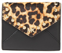 Studded Leopard-print Calf Hair And Leather Wallet