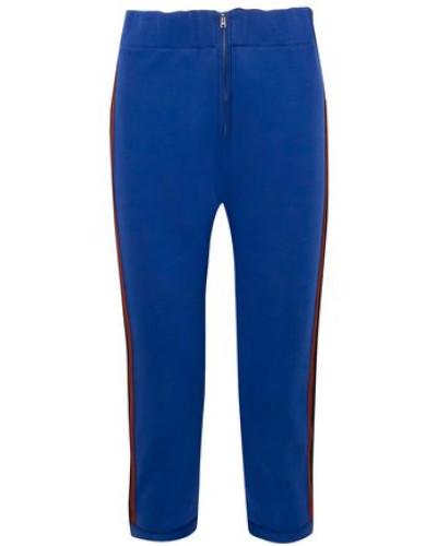 Woman Cropped Striped Cotton-blend Jersey Slim-leg Pants Cobalt Blue