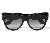 Cat-eye Crystal-embellished Acetate Sunglasses Schwarz