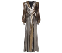 Knotted Two-tone Silk-blend Lamé Gown