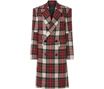Kendall Double-breasted Checked Wool-flannel Coat