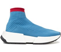 Two-tone Stretch-knit High-top Sneakers