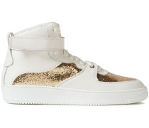 Glam Slam Glitter-paneled Leather High-top Sneakers