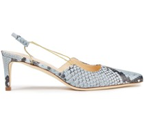 Gabriella Chain-trimmed Snake-effect Leather Slingback Pumps