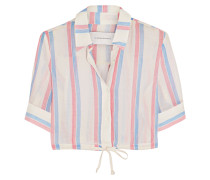 Cropped Striped Cotton Top Rot