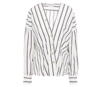 Snap-detailed Striped Cotton-poplin Shirt