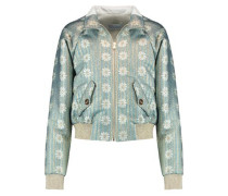 Metallic brocade bomber jacket