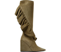 Ruffle-trimmed suede wedge knee boots