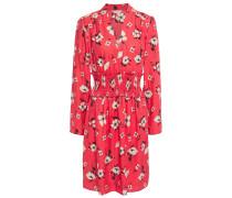 Woman Shirred Silk-blend Floral-jacquard Mini Dress Papaya