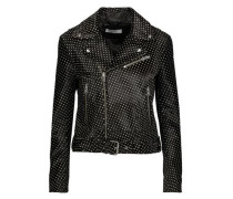 Alpha printed calf hair-effect leather biker jacket