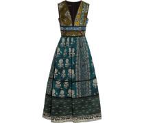 Printed Silk Dress Türkis