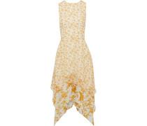 Asymmetric Floral-print Chiffon Dress