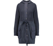 Knitted Cotton And Silk-blend Hooded Coat Rauchblau