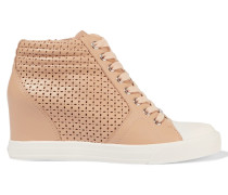 Perforated Leather Wedge Sneakers Beige