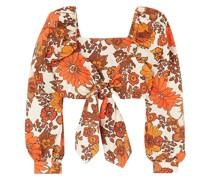Biby Cropped Oberteil aus Baumwolle mit Bindedetail Vorne und Blumenprint