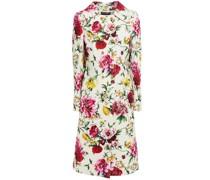 Mantel aus Floralem Jacquard mit Zierknöpfen