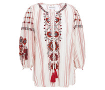 Camilla Tasseled Embroidered Cotton-jacquard Blouse