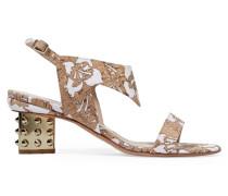 Leda Cork-appliquéd Neoprene Sandals Braun
