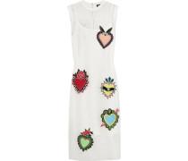 Ribbed Jersey-trimmed Appliquéd Mesh Dress Weiß