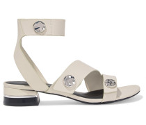 Drum Button-embellished Leather Sandals