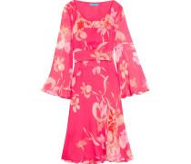 Flared Printed Silk-chiffon Dress Knallpink