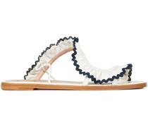 Sandalen aus Leder mit Rüschen