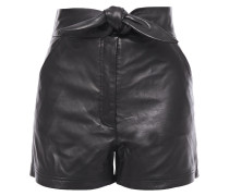 Woman Kerry Knotted Leather Shorts Black