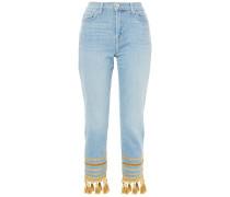 Embellished High-rise Slim-leg Jeans