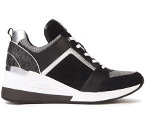 Paneled Suede, Leather And Stretch-knit Sneakers