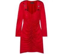 Crystal-embellished Ruched Satin Mini Dress