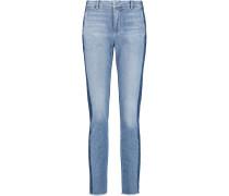 Two-tone Mid-rise Straight-leg Jeans Mittelblauer Denim