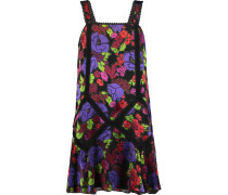 Gardenia Macramé Lace-trimmed Burnout Chiffon Mini Dress Schwarz