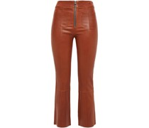 Stretch-leather Kick-flare Pants