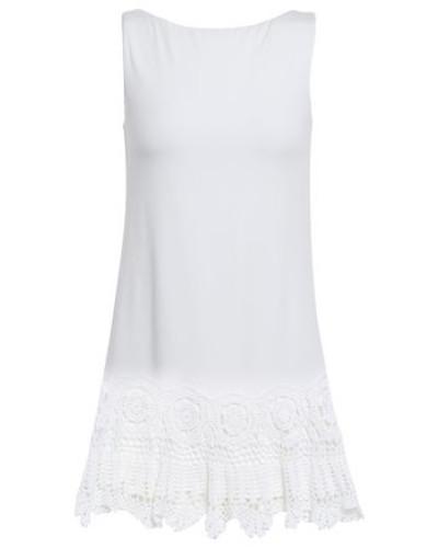 Crochet-trimmed Jersey Mini Dress White