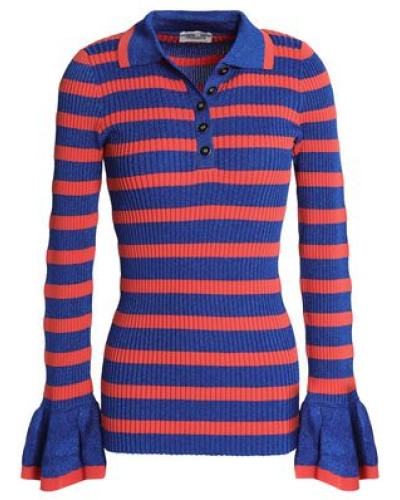 Metallic Striped Ribbed-knit Sweater Bright Blue