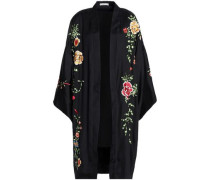 Embroidered satin-crepe kimono