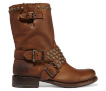 Jenna Studded Leather Boots Braun