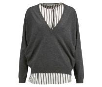Layered striped silk-paneled cashmere sweater