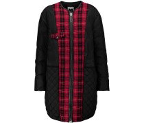 Plaid-trimmed Shell Down Coat Schwarz