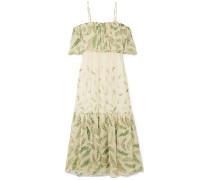 + Zandra Rhodes Diana Bedrucktes Kleid aus Seidenchiffon mit Rüschen und Cut-outs