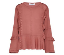 Broderie anglaise-trimmed ruffled crepe de chine top
