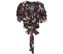 Cropped Ruffled Floral-print Silk-crepe Top