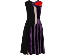 Paneled Satin, Velvet And Cady Dress