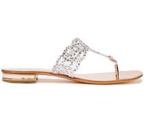 Metallic Leather-trimmed Crystal-embellished Pvc Sandals