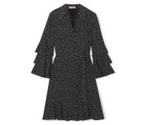 Belted Tiered Polka-dot Silk-crepe Mini Dress