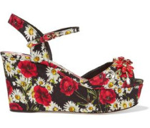Embellished printed faille wedge sandals