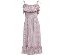 Cold-shoulder Ruffled Striped Cotton And Linen-blend Midi Dress