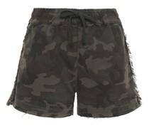Shorts aus Twill aus Einer Baumwollmischung mit Camouflage-print und Fransen