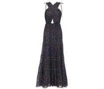 Crossover Printed Metallic Cotton-blend Voile Maxi Dress