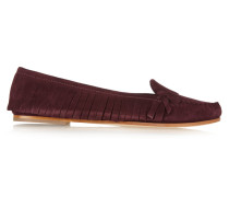 Fringed Suede Loafers Burgunder